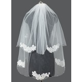 Two-tier Cut Edge Fingertip Bridal Veils With Applique/Faux Pearl (006053185)