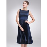 A-Line/Princess Square Neckline Knee-Length Charmeuse Bridesmaid Dress With Pleated (007020326)