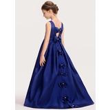 Duchesse-Linie/Princess U-Ausschnitt Sweep/Pinsel zug Satin Kleid für junge Brautjungfern mit Schleife(n) (009191716)