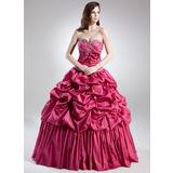 Duchesse-Linie Herzausschnitt Bodenlang Taft Quinceañera Kleid (Kleid für die Geburtstagsfeier) mit Rüschen Perlen verziert Blumen (021015702)