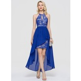 Sheath/Column Scoop Neck Asymmetrical Chiffon Homecoming Dress (022204166)