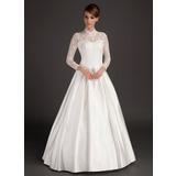 A-linjeformat Hög hals Golvlång Satäng Bröllopsklänning (002015488)