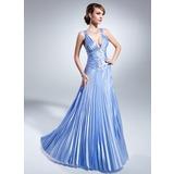 A-Linie/Princess-Linie V-Ausschnitt Bodenlang Charmeuse Kleid für die Brautmutter mit Perlen verziert Gefaltet (008015059)