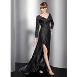 A-Linie/Princess-Linie V-Ausschnitt Sweep/Pinsel zug Charmeuse Kleid für die Brautmutter mit Rüschen Schlitz Vorn (008014792)