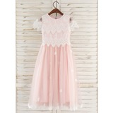 A-Line Tea-length Flower Girl Dress - Tulle/Lace Short Sleeves Scoop Neck With Flower(s) (010172357)