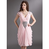 Sheath/Column V-neck Knee-Length Chiffon Cocktail Dress With Ruffle Beading (016016275)