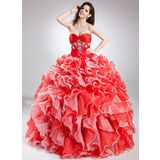 Duchesse-Linie Herzausschnitt Bodenlang Organza Quinceañera Kleid (Kleid für die Geburtstagsfeier) mit Perlen verziert Gestufte Rüschen (021015811)