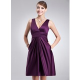 A-Line/Princess V-neck Knee-Length Satin Bridesmaid Dress With Ruffle (007004302)