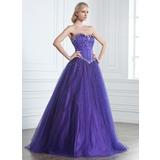 Duchesse-Linie Herzausschnitt Bodenlang Tüll Quinceañera Kleid (Kleid für die Geburtstagsfeier) mit Perlen verziert (021020889)