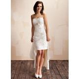 Jacka Hjärtformad Asymmtrisk Löstagbar Satäng Bröllopsklänning med Pärlbrodering Kristallbrosch Paljetter Rosett/-er (002012842)