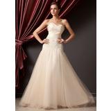 A-Linie/Princess-Linie Herzausschnitt Bodenlang Tüll Quinceañera Kleid (Kleid für die Geburtstagsfeier) mit Rüschen Perlen verziert Schleife(n) (021014228)