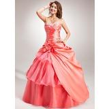 Duchesse-Linie Herzausschnitt Bodenlang Taft Organza Quinceañera Kleid (Kleid für die Geburtstagsfeier) mit Bestickt Perlen verziert Blumen Gestufte Rüschen (021004684)