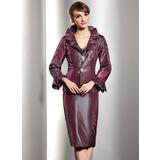 Etui-Linie V-Ausschnitt Knielang Taft Kleid für die Brautmutter mit Gestufte Rüschen (008014548)