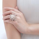 Blume Geformt Keramik/Kupfer/Spitze mit Strass Damen Ringe (011057860)