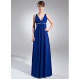 Empire-Linie V-Ausschnitt Bodenlang Chiffon Festliche Kleid mit Rüschen Perlen verziert Pailletten (020025947)