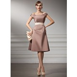 A-Line/Princess Off-the-Shoulder Knee-Length Satin Bridesmaid Dress With Sash (007004990)