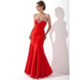 Trumpet/Mermaid Sweetheart Floor-Length Charmeuse Holiday Dress With Ruffle Beading (020025960)