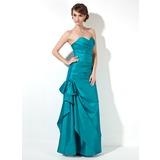 Trumpet/Mermaid Sweetheart Floor-Length Taffeta Bridesmaid Dress With Ruffle Bow(s) (007001860)