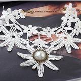 Legierung/Schnur mit Perle Frauen Halsketten (011035176)