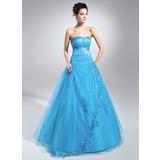 Duchesse-Linie Herzausschnitt Bodenlang Tüll Quinceañera Kleid (Kleid für die Geburtstagsfeier) mit Perlen verziert Applikationen Spitze Pailletten (021015113)