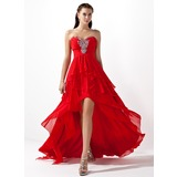 A-Line/Princess Sweetheart Asymmetrical Chiffon Prom Dresses With Beading Cascading Ruffles (018004808)