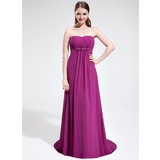 Empire Sweetheart Sweep Train Chiffon Prom Dress With Ruffle Beading Flower(s) (018025592)