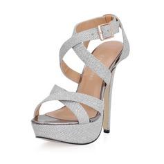 Vrouwen Kunstleer Stiletto Heel Sandalen Plateau Slingbacks met Gesp schoenen (087017930)