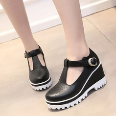 Women's Leatherette Wedge Heel Closed Toe Wedges With Buckle shoes (086119369)