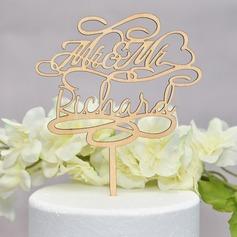 Personalizzato Mr & Mrs Legno Decorazioni per torte (Venduto in un unico pezzo) (119165594)