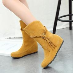 Frauen Veloursleder Flascher Absatz Flache Schuhe Geschlossene Zehe Stiefel Stiefel-Wadenlang mit Geflochtenes Band Schuhe (088126574)