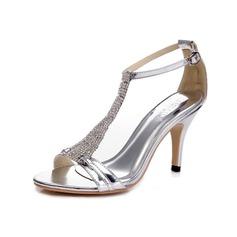 Femmes Cuir verni Talon stiletto Sandales Escarpins avec Strass Boucle chaussures (087055839)