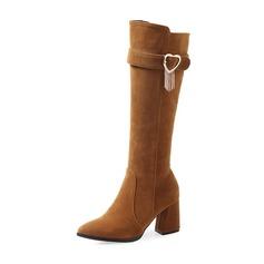 Donna Camoscio Tacco spesso Stivali Stivali al ginocchio con Strass scarpe (088172772)