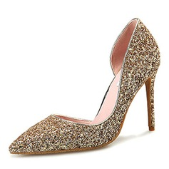 Donna Glitter scintillanti Tacco a spillo Stiletto Punta chiusa scarpe (085172788)