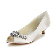 Frauen Satin Kegel Absatz Peep-Toe Sandalen mit Strass (047048524)