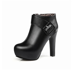 Frauen Kunstleder Stöckel Absatz Plateauschuh Stiefelette mit Schnalle Reißverschluss Schuhe (088097367)