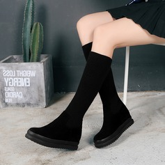 Frauen Veloursleder Flascher Absatz Flache Schuhe Plateauschuh Stiefel Kniehocher Stiefel mit Andere Schuhe (088142817)