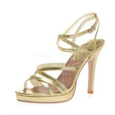 Kvinnor Konstläder Stilettklack Sandaler Plattform Peep Toe med Spänne skor (087041250)