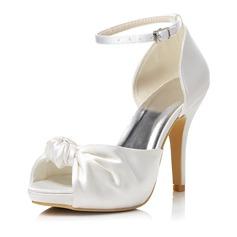 Vrouwen Satijn Stiletto Heel Peep Toe Sandalen met Gesp (047048012)