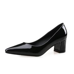 Donna Pelle verniciata Tacco spesso Stiletto Punta chiusa scarpe (085074496)