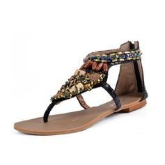 Kunstleder Flascher Absatz Sandalen mit Strass Schuhe (087063161)