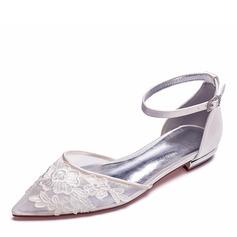 Frauen Mesh Flascher Absatz Geschlossene Zehe Flache Schuhe mit Applikationen (047187620)