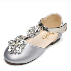 Ragazze Punta rotonda Punta chiusa finta pelle Heel piatto Ballerine Scarpe Flower Girl con Velcro Cristallo (207166156)