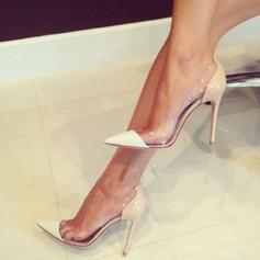 Frauen Veloursleder Stöckel Absatz Absatzschuhe Geschlossene Zehe mit Zweiteiliger Stoff Schuhe (085124941)
