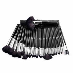 Artificial Fibre Fashion 32Pcs Black PU Bag Makeup Supply (046074554)