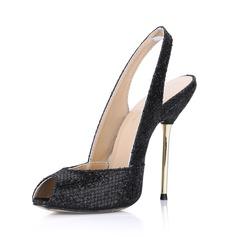 Pailletes scintillantes Talon stiletto Sandales À bout ouvert Escarpins chaussures (087022623)