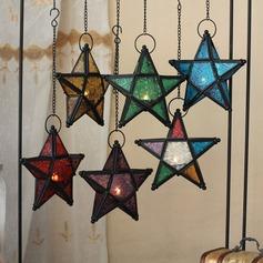 Disegno della stella/Bicchieri colorati stile vintage Metallo Portacandele (131186061)