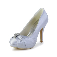 Women's Satin Cone Heel Closed Toe Platform Pumps With Rhinestone Ruched (047029884)