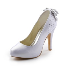 Vrouwen Satijn Cone Heel Closed Toe Plateau Pumps met strik Strass (047005394)