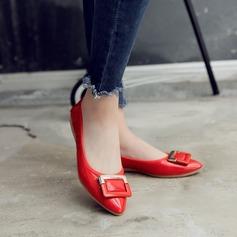 De mujer PU Tacón plano Planos Cerrados con Bowknot zapatos (086142466)