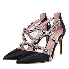 Donna raso di seta come Tacco a spillo Stiletto Punta chiusa con Strass Cerniera scarpe (085172795)